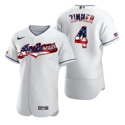 Men Cleveland Indians 4 Bradley Zimmer Men Nike White Fluttering USA Flag Limited Edition Flex Base MLB Jersey