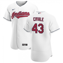 Men Cleveland Indians 43 Aaron Civale Men Nike White Home 2020 Flex Base Team MLB Jersey