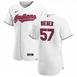 Men Cleveland Indians 57 Shane Bieber Men Nike White Home 2020 Flex Base Team MLB Jersey