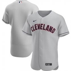 Men Cleveland Indians Men Nike Gray Road 2020 Flex Base Official Team MLB Jersey