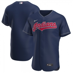 Men Cleveland Indians Men Nike Navy Alternate 2020 Flex Base Team MLB Jersey