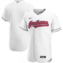 Men Cleveland Indians Men Nike White Home 2020 Flex Base Team MLB Jersey