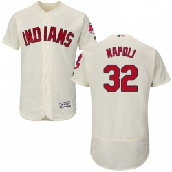 Mens Majestic Cleveland Indians 32 Mike Napoli Cream Alternate Flex Base Authentic Collection MLB Jersey