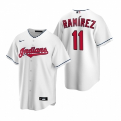 Mens Nike Cleveland Indians 11 Jose Ramirez White Home Stitched Baseball Jerse