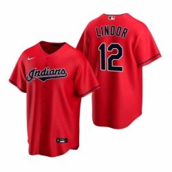 Mens Nike Cleveland Indians 12 Francisco Lindor Red Alternate Stitched Baseball Jerse