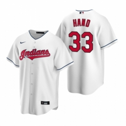 Mens Nike Cleveland Indians 33 Brad Hand White Home Stitched Baseball Jersey