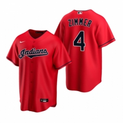Mens Nike Cleveland Indians 4 Bradley Zimmer Red Alternate Stitched Baseball Jersey