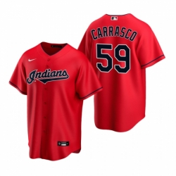 Mens Nike Cleveland Indians 59 Carlos Carrasco Red Alternate Stitched Baseball Jersey
