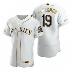 Colorado Rockies 19 Charlie Blackmon White Nike Mens Authentic Golden Edition MLB Jersey
