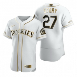 Colorado Rockies 27 Trevor Story White Nike Mens Authentic Golden Edition MLB Jersey