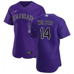 Men Colorado Rockies 14 Tony Wolters Men Nike Purple Alternate 2020 Flex Base Player MLB Jersey