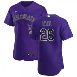 Men Colorado Rockies 26 David Dahl Men Nike Purple Alternate 2020 Flex Base Player MLB Jersey