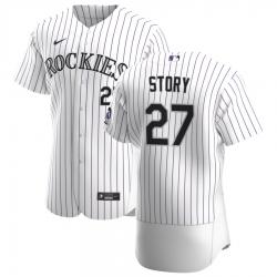 Men Colorado Rockies 27 Trevor Story Men Nike White Home 2020 Flex Base Player MLB Jersey