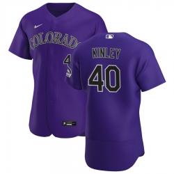 Men Colorado Rockies 40 Tyler Kinley Men Nike Purple Alternate 2020 Flex Base Player MLB Jersey