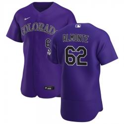 Men Colorado Rockies 62 Yency Almonte Men Nike Purple Alternate 2020 Flex Base Player MLB Jersey