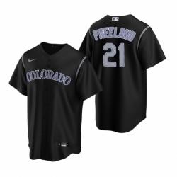 Mens Nike Colorado Rockies 21 Kyle Freeland Black Alternate Stitched Baseball Jersey