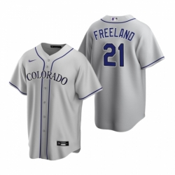 Mens Nike Colorado Rockies 21 Kyle Freeland Gray Road Stitched Baseball Jersey