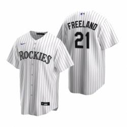 Mens Nike Colorado Rockies 21 Kyle Freeland White Home Stitched Baseball Jersey
