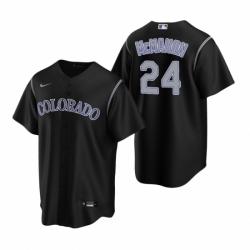 Mens Nike Colorado Rockies 24 Ryan McMahon Black Alternate Stitched Baseball Jersey