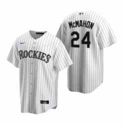 Mens Nike Colorado Rockies 24 Ryan McMahon White Home Stitched Baseball Jersey