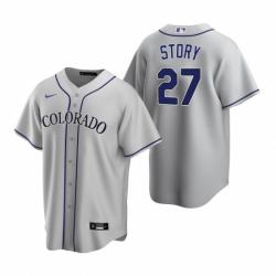 Mens Nike Colorado Rockies 27 Trevor Story Gray Road Stitched Baseball Jerse