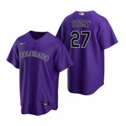 Mens Nike Colorado Rockies 27 Trevor Story Purple Alternate Stitched Baseball Jerse