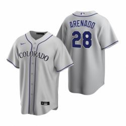 Mens Nike Colorado Rockies 28 Nolan Arenado Gray Road Stitched Baseball Jerse