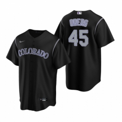 Mens Nike Colorado Rockies 45 Scott Oberg Black Alternate Stitched Baseball Jersey