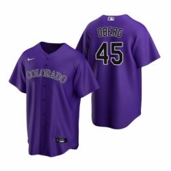 Mens Nike Colorado Rockies 45 Scott Oberg Purple Alternate Stitched Baseball Jersey