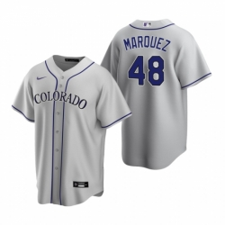 Mens Nike Colorado Rockies 48 German Marquez Gray Road Stitched Baseball Jersey