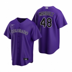 Mens Nike Colorado Rockies 48 German Marquez Purple Alternate Stitched Baseball Jersey