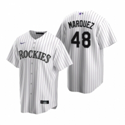 Mens Nike Colorado Rockies 48 German Marquez White Home Stitched Baseball Jersey