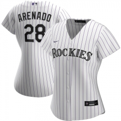 Colorado Rockies 28 Nolan Arenado Nike Women Home 2020 MLB Player Jersey White