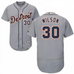 Mens Majestic Detroit Tigers 30 Alex Wilson Grey Road Flex Base Authentic Collection MLB Jersey
