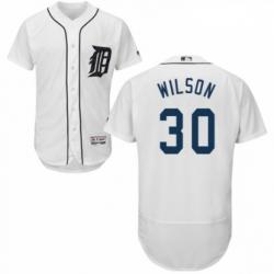 Mens Majestic Detroit Tigers 30 Alex Wilson White Home Flex Base Authentic Collection MLB Jersey