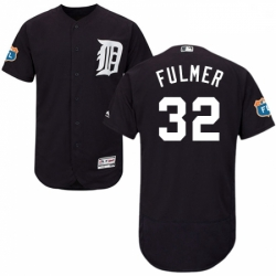Mens Majestic Detroit Tigers 32 Michael Fulmer Navy Blue Flexbase Authentic Collection MLB Jersey