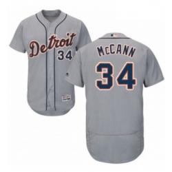 Mens Majestic Detroit Tigers 34 James McCann Grey Road Flex Base Authentic Collection MLB Jersey