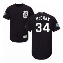 Mens Majestic Detroit Tigers 34 James McCann Navy Blue Alternate Flex Base Authentic Collection MLB Jersey