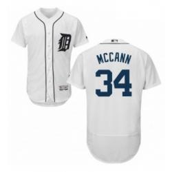 Mens Majestic Detroit Tigers 34 James McCann White Home Flex Base Authentic Collection MLB Jersey