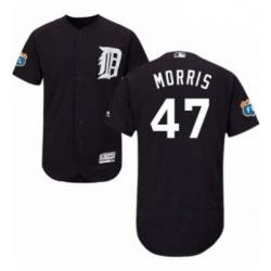 Mens Majestic Detroit Tigers 47 Jack Morris Navy Blue Alternate Flex Base Authentic Collection MLB Jersey