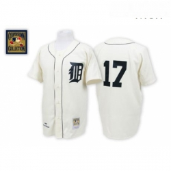 Mens Mitchell and Ness Detroit Tigers 17 Denny Mclain Authentic White Throwback MLB Jersey