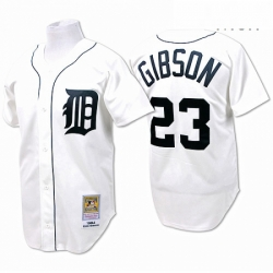 Mens Mitchell and Ness Detroit Tigers 23 Kirk Gibson Replica White Throwback MLB Jersey