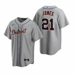 Mens Nike Detroit Tigers 21 JaCoby Jones Gray Road Stitched Baseball Jersey