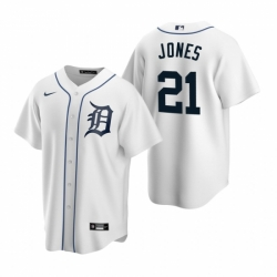 Mens Nike Detroit Tigers 21 JaCoby Jones White Home Stitched Baseball Jersey