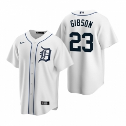 Mens Nike Detroit Tigers 23 Kirk Gibson White Home Stitched Baseball Jerse