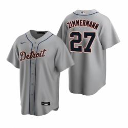 Mens Nike Detroit Tigers 27 Jordan Zimmermann Gray Road Stitched Baseball Jerse
