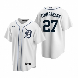 Mens Nike Detroit Tigers 27 Jordan Zimmermann White Home Stitched Baseball Jerse