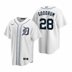 Mens Nike Detroit Tigers 28 Niko Goodrum White Home Stitched Baseball Jersey