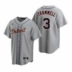 Mens Nike Detroit Tigers 3 Alan Trammell Gray Road Stitched Baseball Jerse