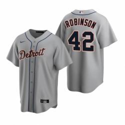 Mens Nike Detroit Tigers 42 Jackie Robinson Gray Road Stitched Baseball Jersey